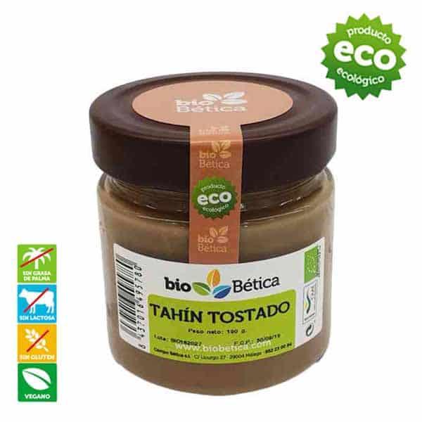 Tahín tostado Biobetica-bio-betica-campo-biochoc-crema-pasta-tahin-blanco-sesamo-sin-gluten-lactosa-vegano-ecologica-untar-aceite-oliva-virgen-extra-tostado