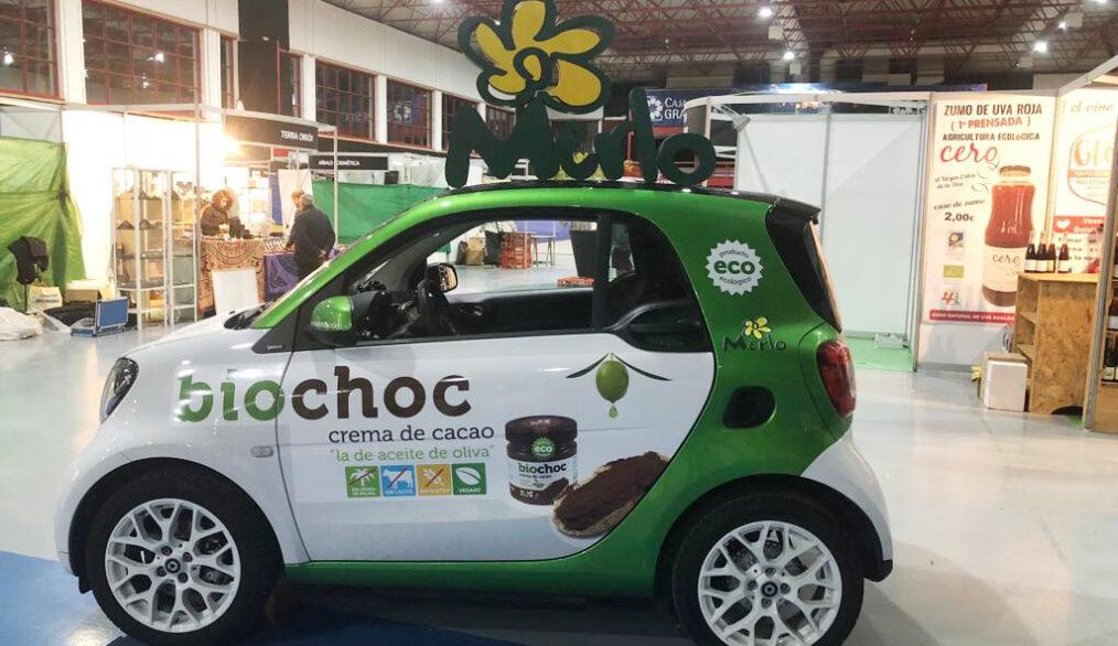 coche-bio-betica-biobetica-feria-stand-crema-cacao-aceite-de-oliva-virgen-extra-eco-ecologico-natural