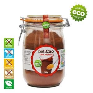 Cacao soluble con panela, sin frutos secos, sin lactosa, apto aplv