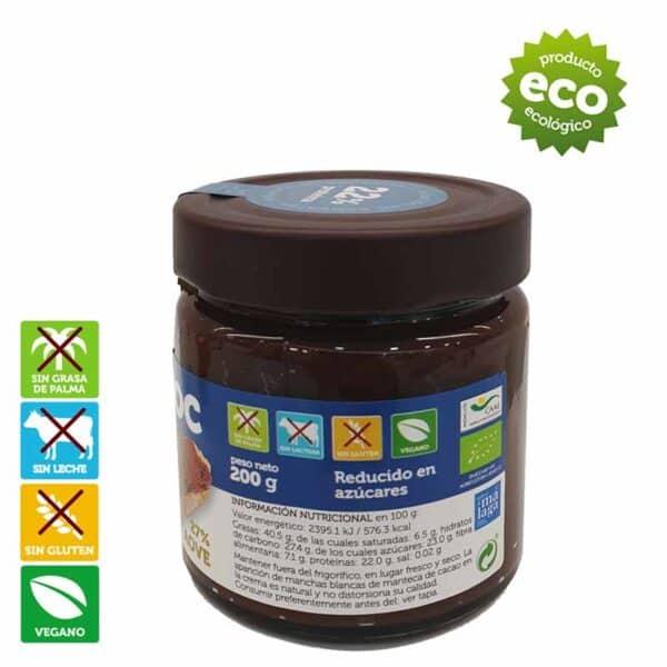 Crema de cacao proteica y reducida en azúcar, vegana, sin gluten, sin lactosa. Proteínas
