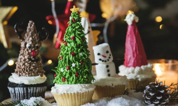 Cupcakes Navideños de Vainilla