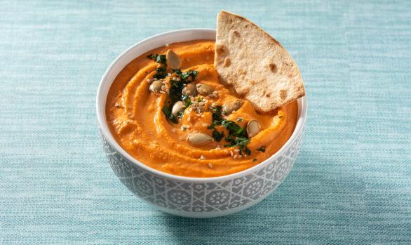 Hummus de lentejas rojas y AOVE con Pimienta Rosa