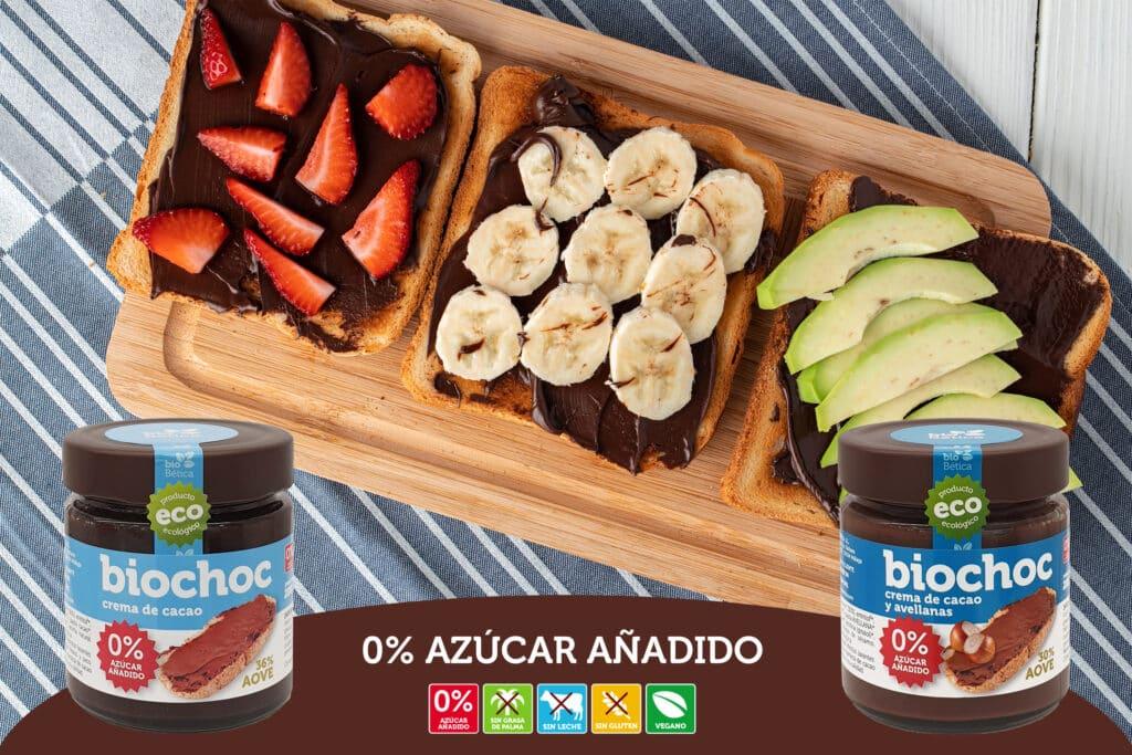 Crema de cacao y avellanas sin azúcar y sin gluten sin lactosa. Vegana